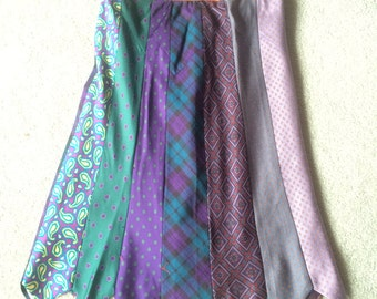 Hand Made Silk Necktie Skirt made with Retro Men's Silk Vintage Neck Ties
