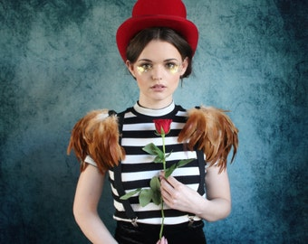 Natural  feather shoulder epaulette, feather wings, tribal feather shoulder pieces