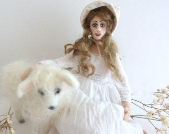 Peaceful cloth art doll needle felt white sheep OOAK posable soft sculpture shephard doll