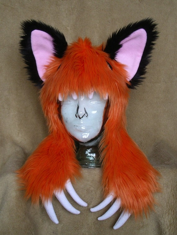 Big furry monster hat Orange fox