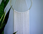 "Macrame Wall Hanging - 55"" or 75"" Natural White Cotton Rope w/ 14"" Brass Ring - Sunburst - Boho Home, Nursery, Wedding Decor - MADE TO ORDER"