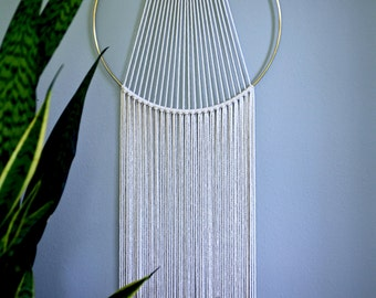 "Macrame Wall Hanging - 60"" or 75"" Natural White Cotton Rope w/ 14"" Brass Ring - Sunburst - Boho Home, Nursery, Wedding Decor - READY TO SHIP"