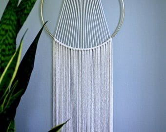 "Macrame Wall Hanging - 60"" or 75"" Natural White Cotton Rope w/ 14"" Brass Ring - Sunburst - Boho Home, Nursery, Wedding Decor"