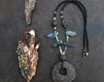 Ceramic donut necklace, rustic necklace, statement necklace, primitive necklace, tribal black necklace, shaman necklace