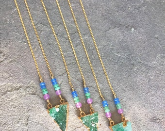 Green Druzy Quartz Triangle Long Layering Necklace with Gemstone Accents - 18kt GF - Boho Necklace - Natural Crystal - Sapphire, Emerald