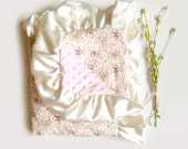 Floral Antlers - Baby Girl Minky Blanket - Stroller Blanket - ivory antlers floral satin ruffle