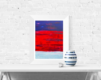 Giclee Print - In Space  - Blue, Red, and, White Abstract Wall Art Print - Minimalist Fine Art Print by Louise Mead