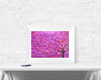 Tree Art Print - Raspberry Abstract Tree - Wall Art Print in Pink, Purple, Raspberry, Fuschia, and Red
