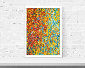Giclee Print - Barcelona - Print of Original Abstract Painting Red, Turquoise, Orange, Gold, Yellow