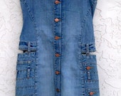 Denim dress,  strapless,  Pepe jeans of London,  vintage denim,  very unusual, details,   button front,  Size Small mini dress,
