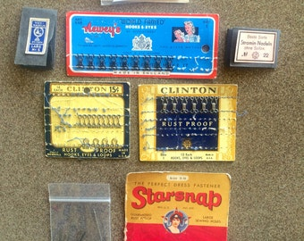 Vintage Sewing Lot Hooks Eyes Loops Stramin Nadeln 36 German Needles No. 22 Original Packages Snaps Gold Eye Needles Handmade by Mother Tags