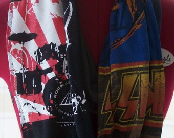 Upcycled Rock N Roll Tshirt Infinity Scarf