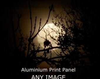 ANY Photo on Aluminium,  aluminium panel, contemporary photography, full moon, moon photo, modern prints,