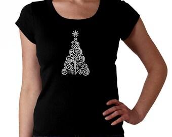 Christmas Tree RHINESTONE Pick rhinestone color t-shirt tank top sweatshirt S M L XL 2XL - Holiday Xmas Abstract Swirls Bling