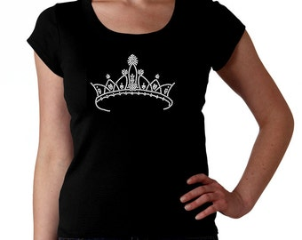 Crown RHINESTONE t-shirt tank top sweatshirt - S M L XL 2XL - Princess Queen Diva Royalty bling