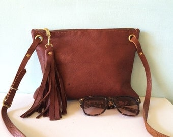 Brown leather cross body handbag, cross body purse, leather shoulder bag