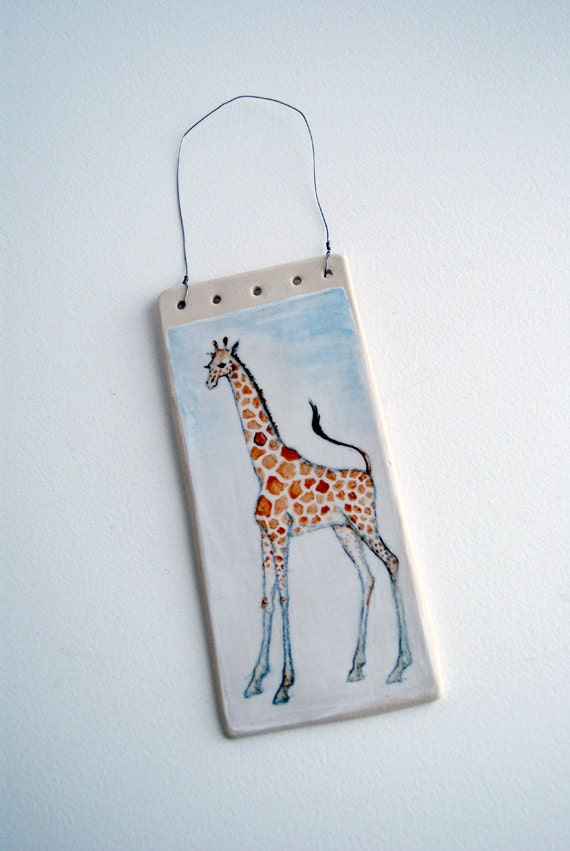 wall hanging - giraffe - ceramic art