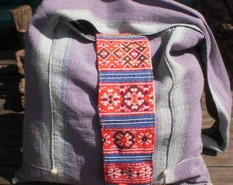 Hmong Large Tribal Textile Tassel Bag