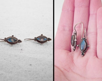 Silver LABRADORITE Earrings Granulation Oval Marquise Dangle Tribal