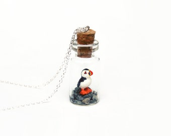 Puffin Jar Necklace - Ornithology, British Coast, Summer, Miniature Atlantic Puffin - 2.5cm jar, 16 inch chain,