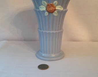 Vintage Baby Blue with Pink Roses Made in Japan