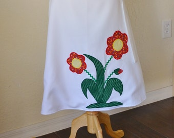 Vintage Handmade Wrap Skirt with Red & Green Flower Applique Size Medium / Large