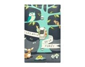 Woodland Animals Switch Plate Cover / Gender Neutral Nursery / Tree Owl Deer Turtle / Light Lighting Les Amis Aqua Gray