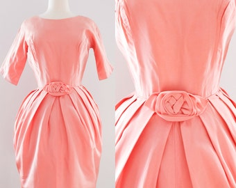 1950s Vintage Wiggle Dress with Rosette | 50s Pink Cocktail Dress