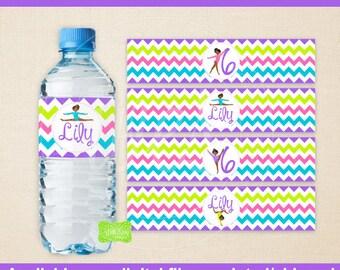 Gymnastics Water Bottle Labels - Gymnastics Water Bottle Wraps - Tumbling Bottle Labels - Digtal & Printed Available