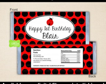 Ladybug Candy Bar Wrapper - Ladybug Chocolate Bar Wrapper - Red and Black Chocolate Bar Wrapper - Digital and Printed Available