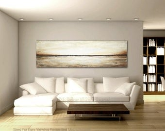 XXL landscape Painting Original 20 x 68 large abstract impressionism landscape art oil painting by L.Beiboer