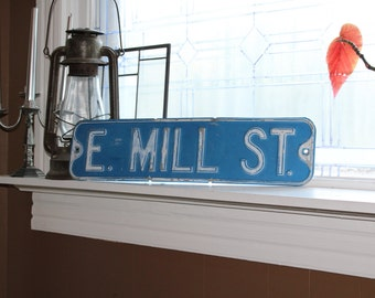 Vintage Street Sign E Mill St Blue and White From Rutledge North Dakota 1950s