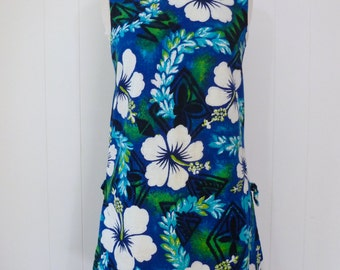 60's Cotton Hawaiian Dress Barkcloth Sleeveless Shift Blue Hibiscus Tiki Print Sheath Dress XS S