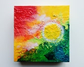 Original Abstract Painting  Bright Colors Textured Abstract Painting 6x6 Cradled
