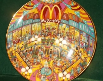 McDonalds Golden Showcase Plate Franklin Mint Bill Bell Collectors Plate Collectible Plate McDonalds Restaurant Scenes Free Shipping
