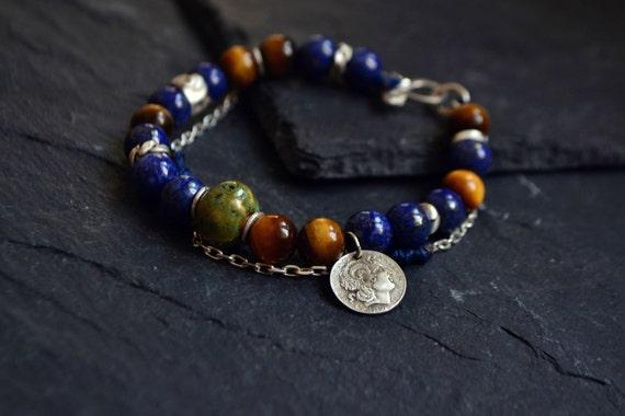 Coin Gemstone Bracelet, Coin Jewelry, Blue Lapis Lazuli Tiger Eye Ceramic Raw Sterling Silver Bracelet, Alexander the Great Greek Jewelry