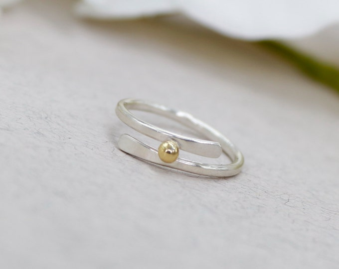 Silver Band Ring Silver rings Sterling Silver Rings Unique Rings Gold and Silver Ring Gold Dot Ball Ring Gold Ball Minimalist Jewelry gold