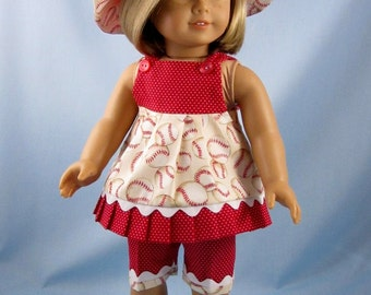 Doll Clothes American Girl - 18 Inch Doll Clothes - Three-Piece Summer Play Outfit - Red and White Baseball Print