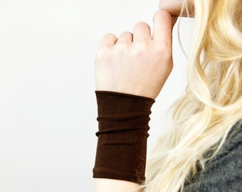 Wrist Cuff Bracelet, Brown Stretch Cuffs, Long Wide Arm Wristband Band, Jersey Tattoo Cover Up Covers, Fabric Jewelry Gift Her Sweat Band