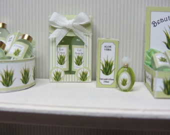 NEW ITEM 2016 ALOE ~ Kit Gift Set with 2 Bottles~  Dollhouse Miniature 1inch Scale
