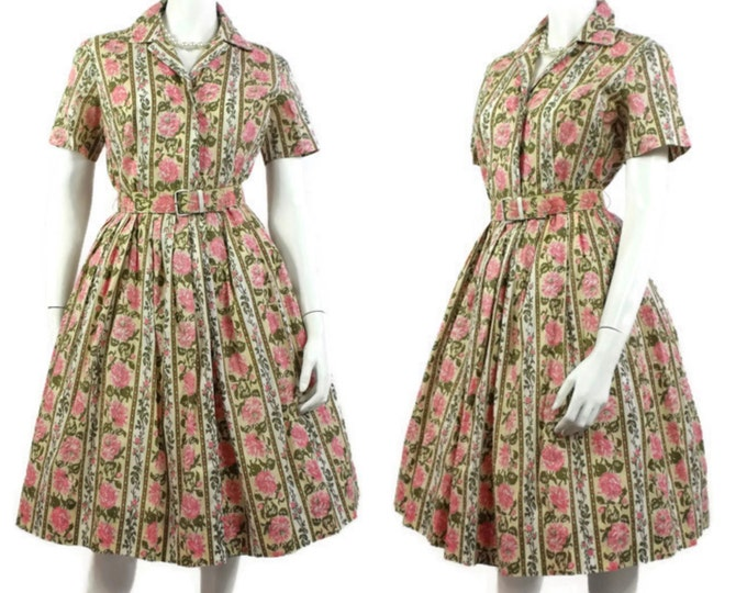 1950's Pink and Green Floral Day Dress - Cabbage Rose Cotton Rockabilly Dress - Shirtwaist - New Look -  Full Skirt - Size 10 to 12