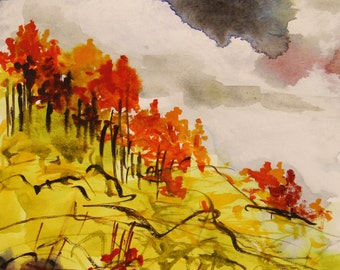 Autumn Wind and Clouds Watercolor Painting JMW art John Williams Impressionism USA