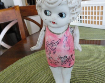 B214)  Vintage Betty Boop Style Bisque Doll with moveable arms and painted on dress