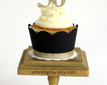 Black and Gold Cupcake Wrappers-Gold trimmed cupcake wrapper-cupcake wrappers-Dirty30-bachelorette new years eve black cupcake wrappers