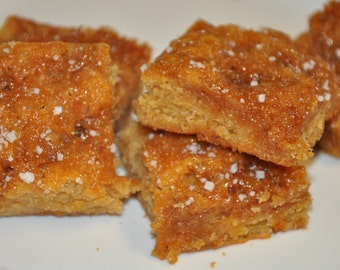 Peanut Butter Caramel Fleur de Sel Salted Blondies Bars Chewy Fresh Cookie Gift