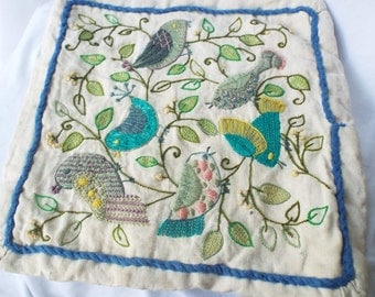 Vintage Linen Pillow Cover with Bird Embroidery