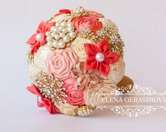 Brooch bouquet, ivory peach coral Fabric Wedding Bouquet, Unique Fabric Flower Bridal Bouquet