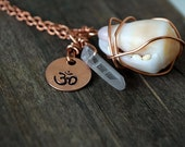 Ohm, Crystal, Hawaiian Shell Necklace  / Aloha from the Beaches of Hawaii Shells & Hand Stamped