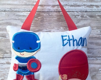 Personalized Boys Tooth Fairy Pillow Embroidered