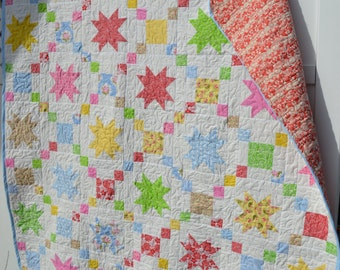 Handmade Quilt Modern Quilts Stars Cottage Chic Country French Pastels Rainbow Retro Vintage Feel Kitch Primitive Mod Large Throw